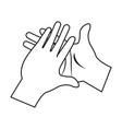 cartoon man hands clap gesture vector image