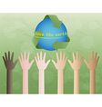 hands and recycle symbol vector image