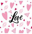 handwritten love word on abstrackt background vector image