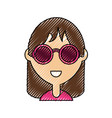 hippie woman icon vector image