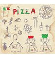 Pizza hand drawn elements - retro design vector image