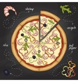 Pizza with shrimp color picture vector image