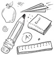 doodle school book pencil paper apple learn vector image vector image