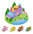 isometric street food burger truck with people vector image