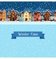Winter urban landscape card with houses and trees vector image vector image