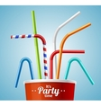 Drinking Straws and Cup Party Placard or Flyer vector image