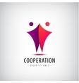 2 men logo team icon cooperation sign vector image