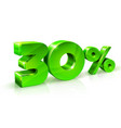glossy green 30 thirty percent off sale isolated vector image