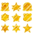 Golden sheriff star badges vector image