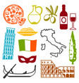 italy icons set italian symbols and objects vector image