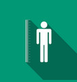 measuring height body icon with long shadow vector image