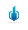 Real estate city building logo Hex corner style vector image