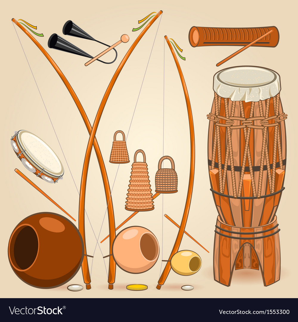 Brazilian capoeira music instruments vector