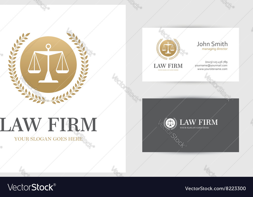 Golden law logo with scales vector