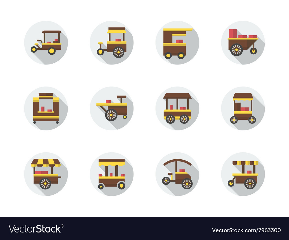 Street food stores round flat color icons vector