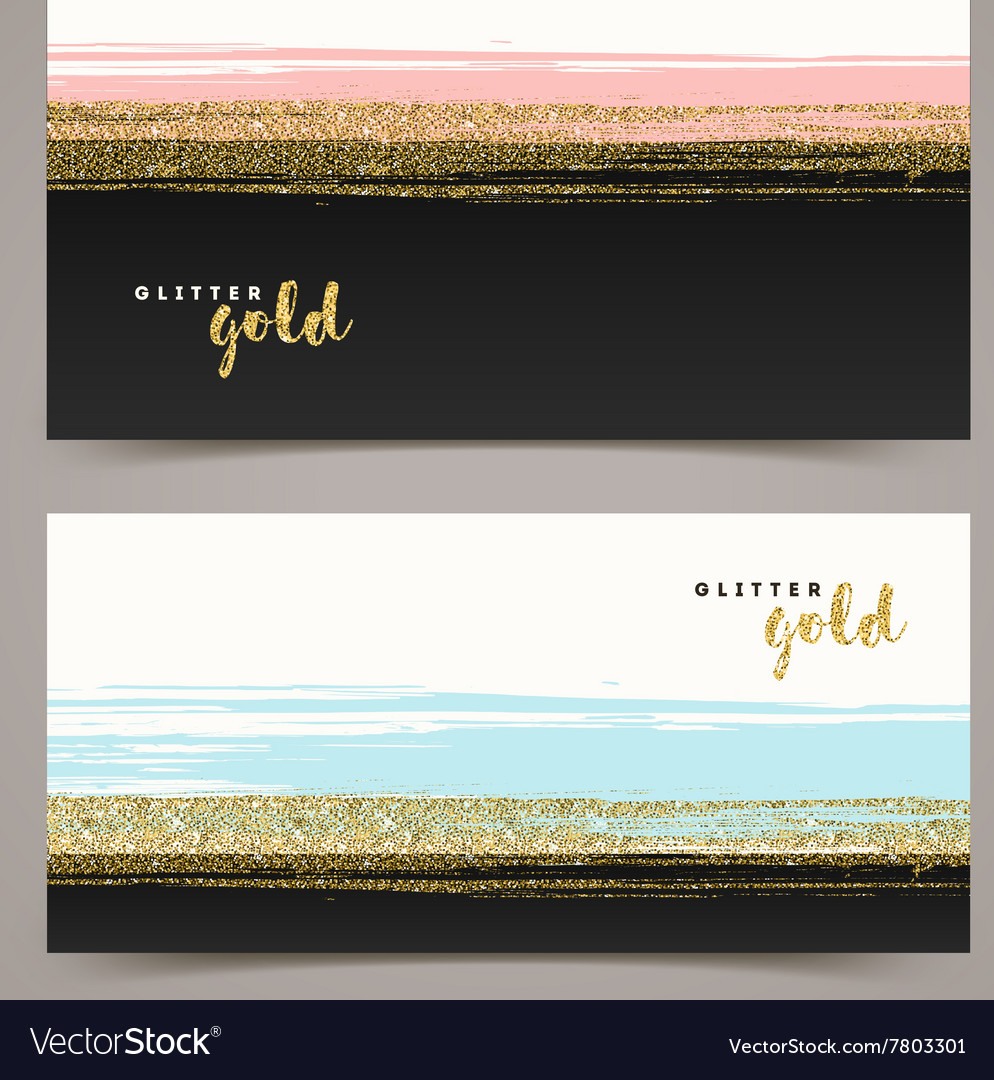 Banners with grunge glitter gold stripe vector