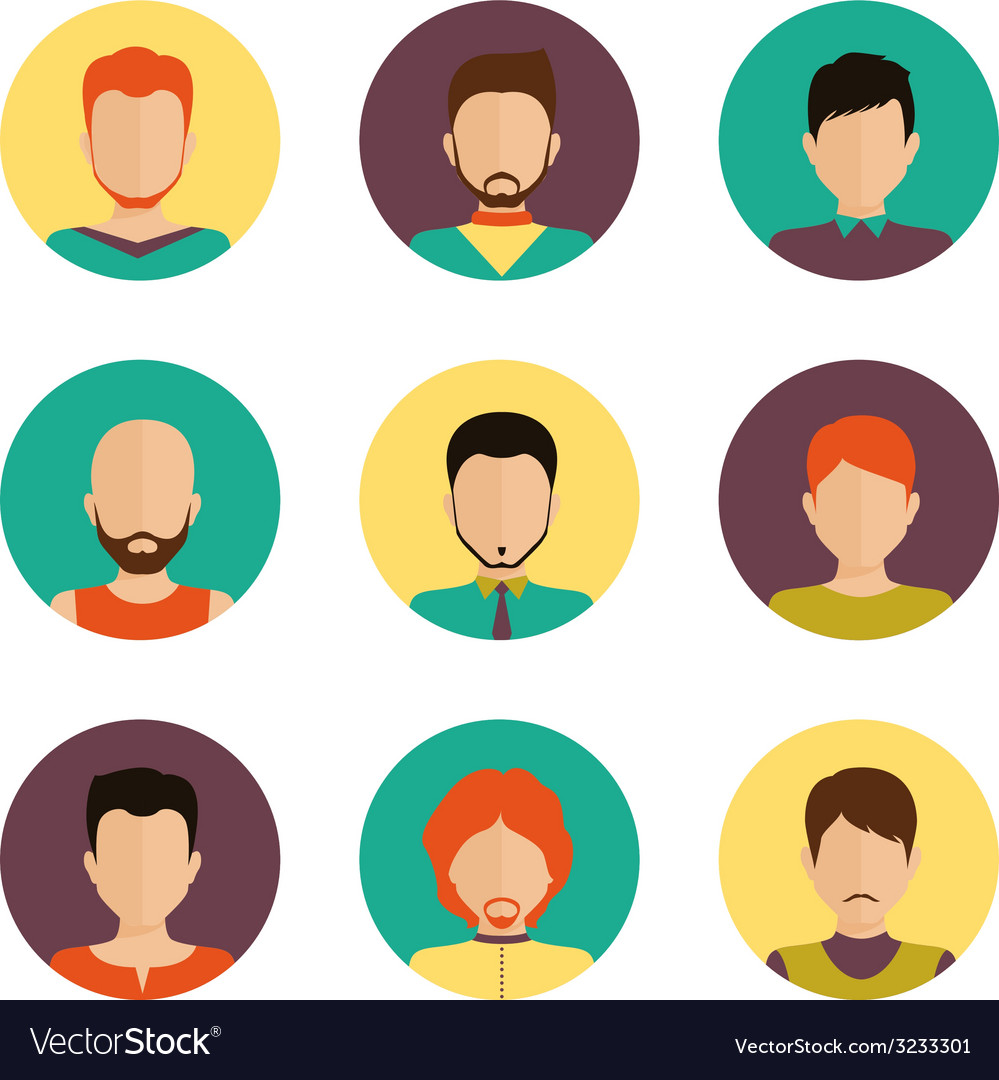 Men avatar set vector