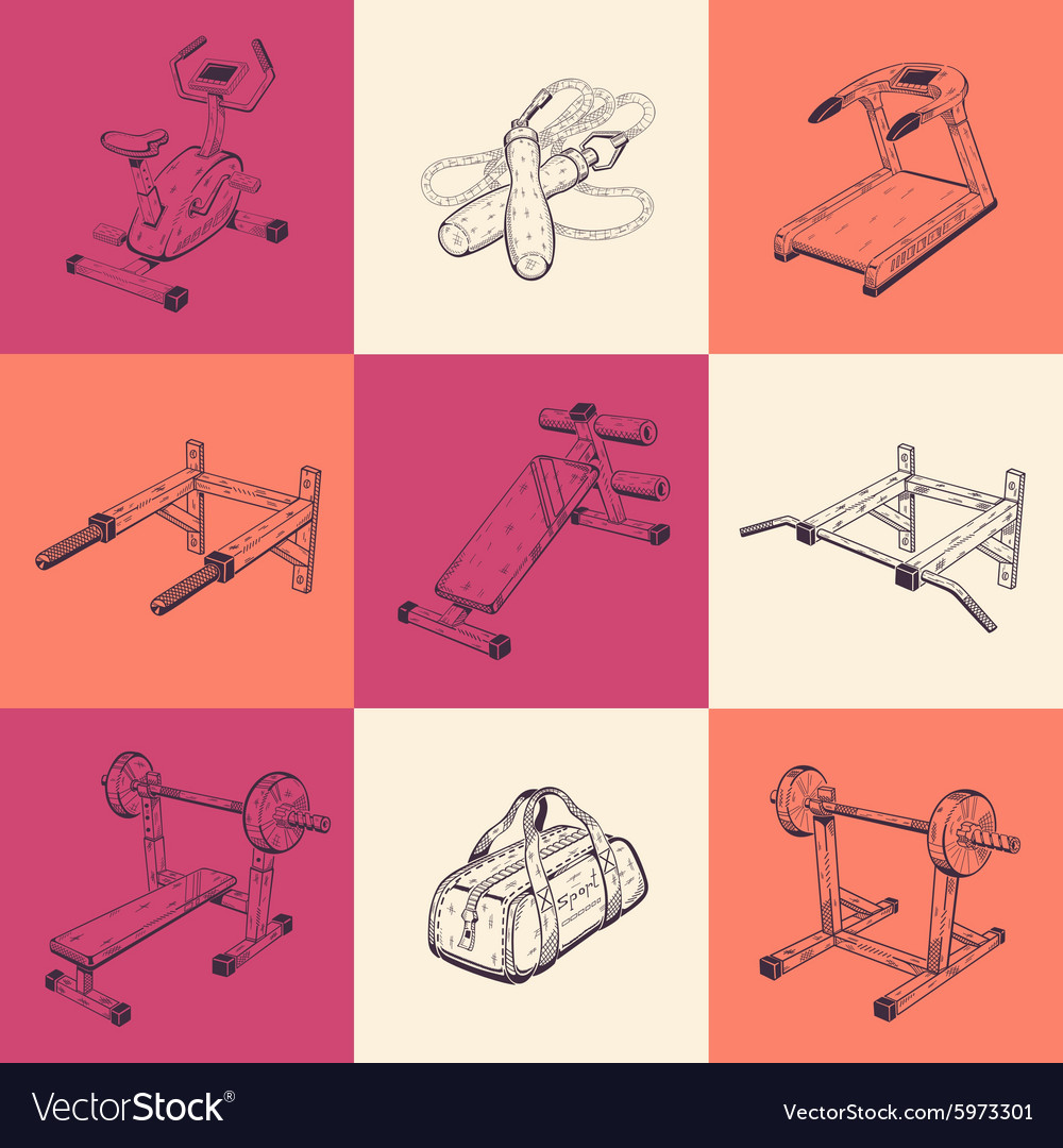 Set of nine with sports equipment vector