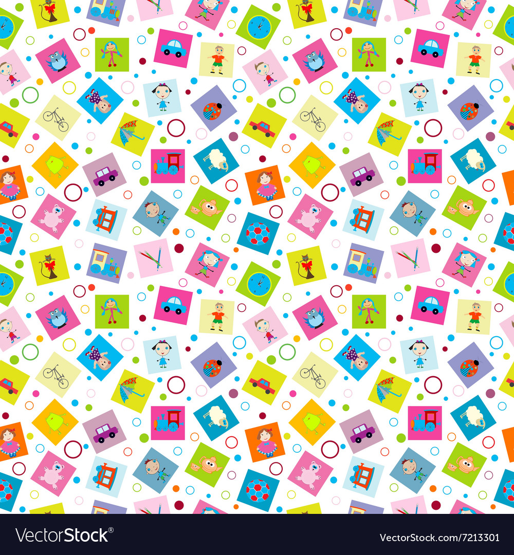 Wrapping paper with toys for kids vector