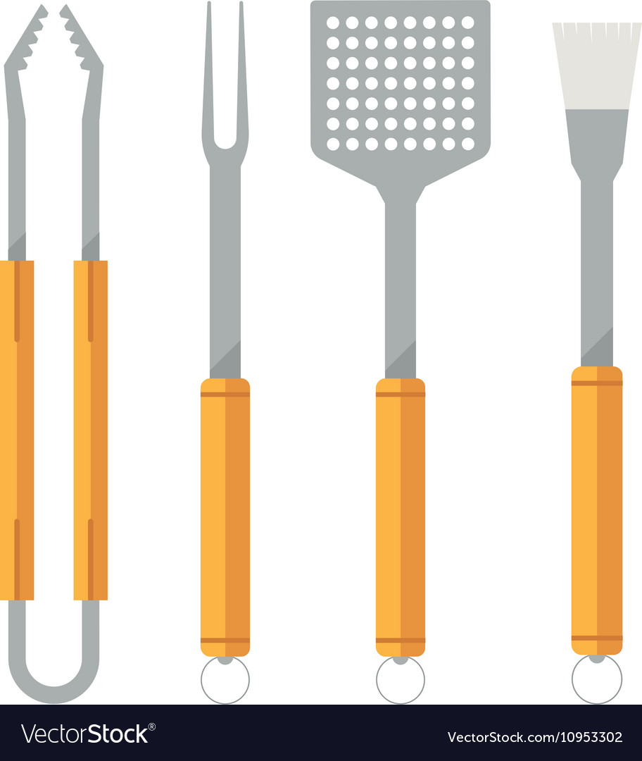 Barbecue utensils icons vector