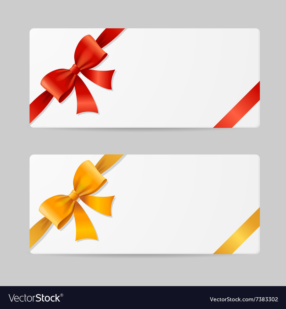 Gift card template with ribbon vector