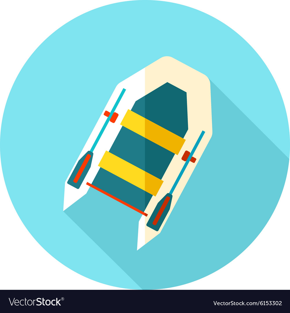 Inflatable boat flat icon with long shadow vector