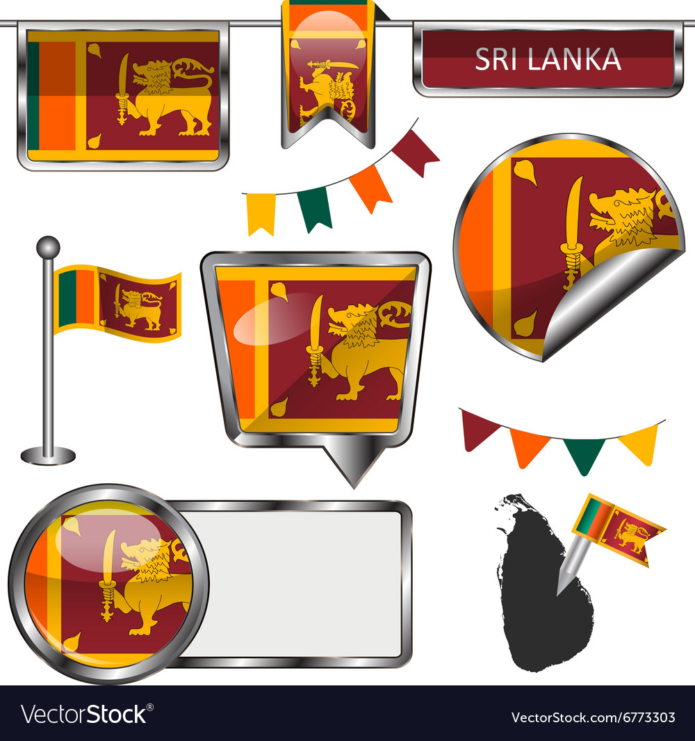 Glossy icons with sri lankan flag vector