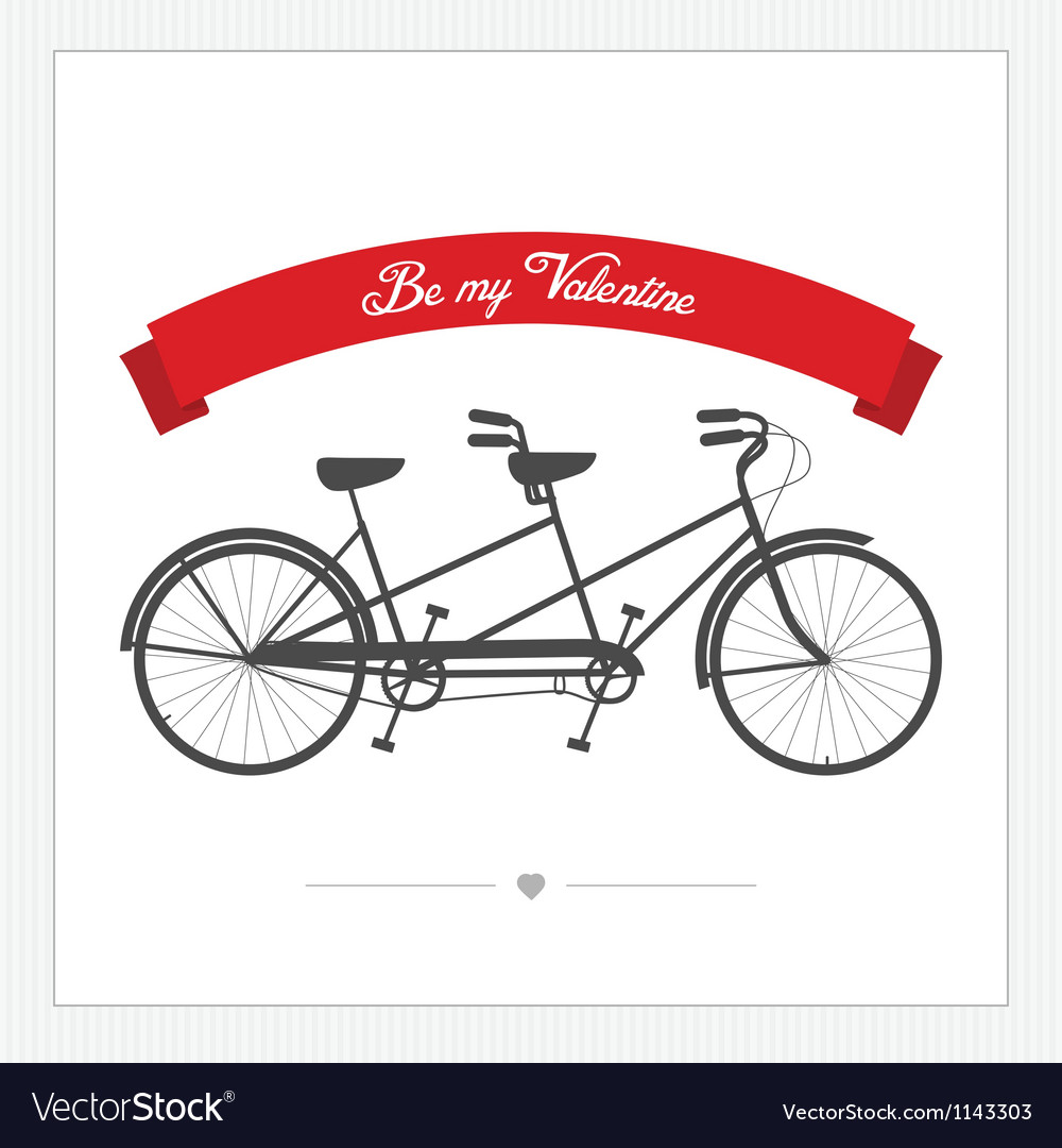 Postcard with vintage tandem bicycle vector