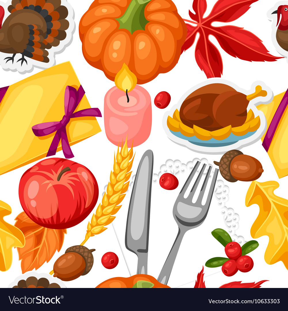 Thanksgiving day seamless pattern ornament with vector