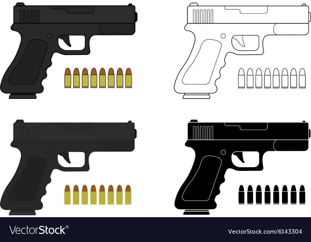 9 mm pistol and bullets vector