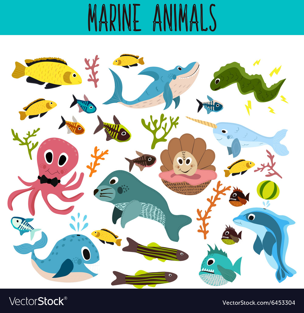 Cartoon set of cute sea animals and living vector