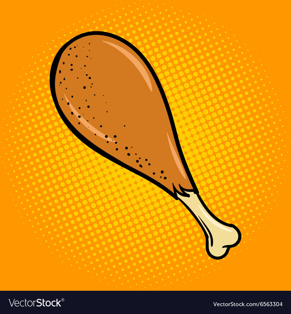 Chicken leg food comic book style pop art vector