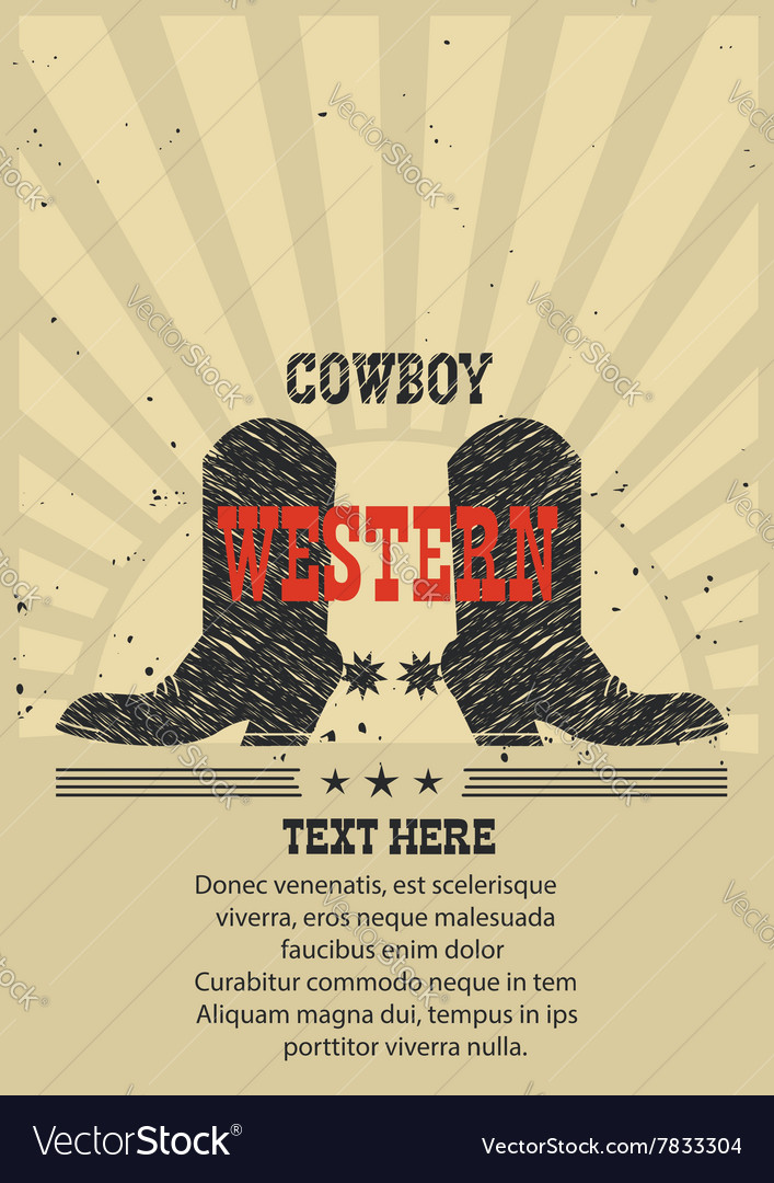 Western poster for text cowboy boots background vector