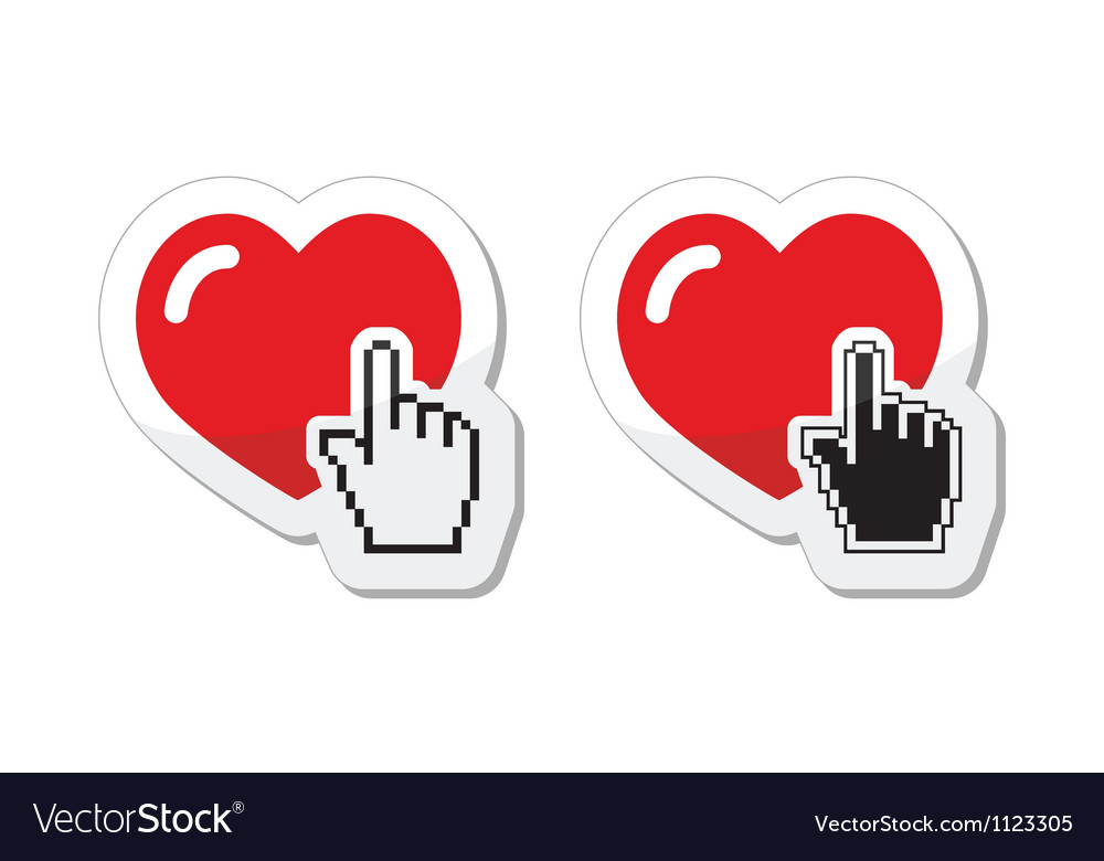 Heart with cursor hand labels  valentines love vector