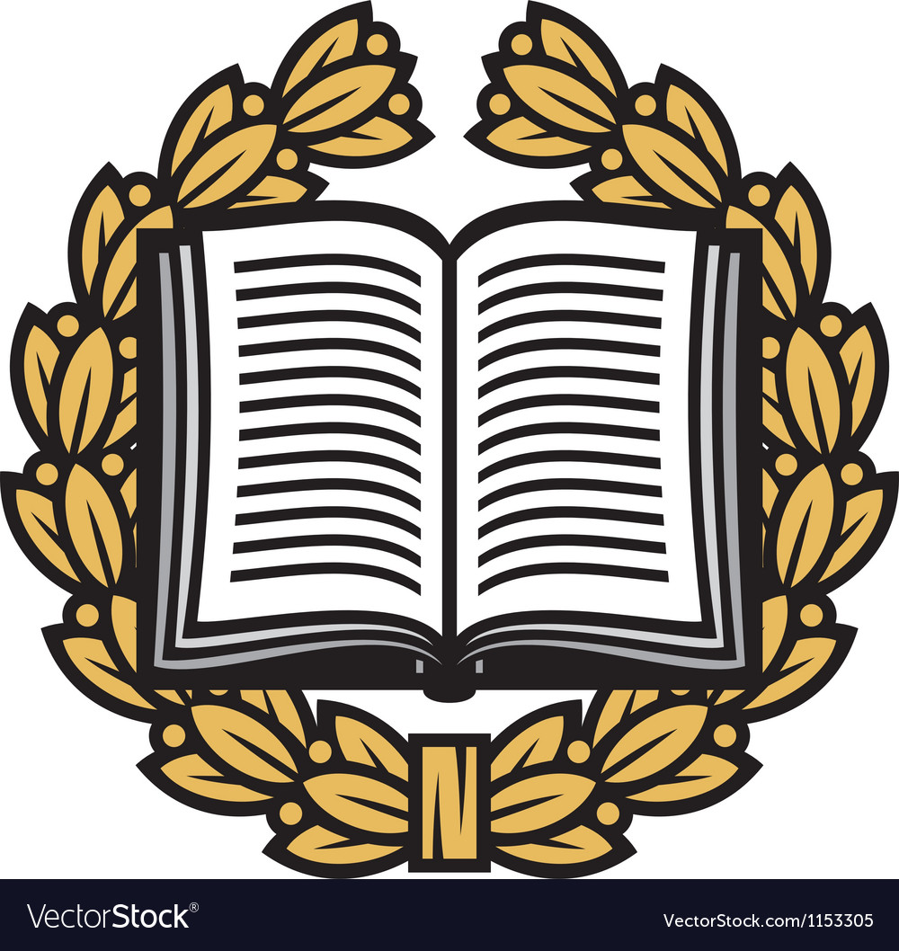 Open book and laurel wreathbook emblem vector