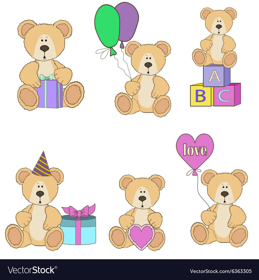 Teddy bear set vector