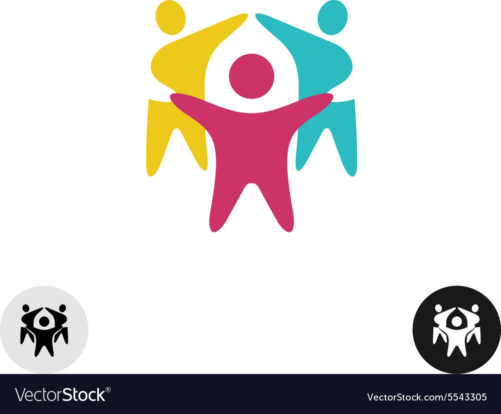 Three happy motivated people in a round colorful vector