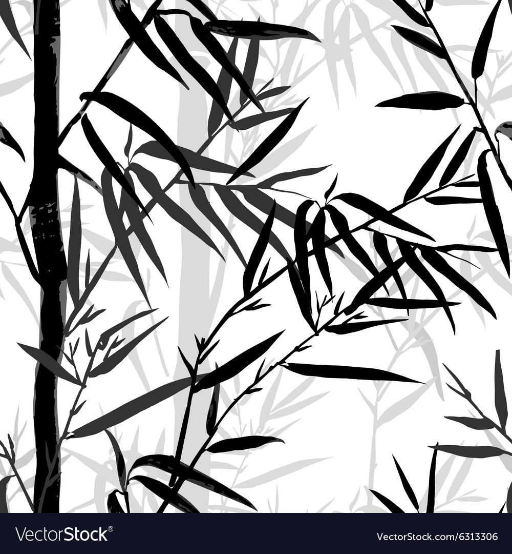 Bamboo leaf background floral seamless texture vector