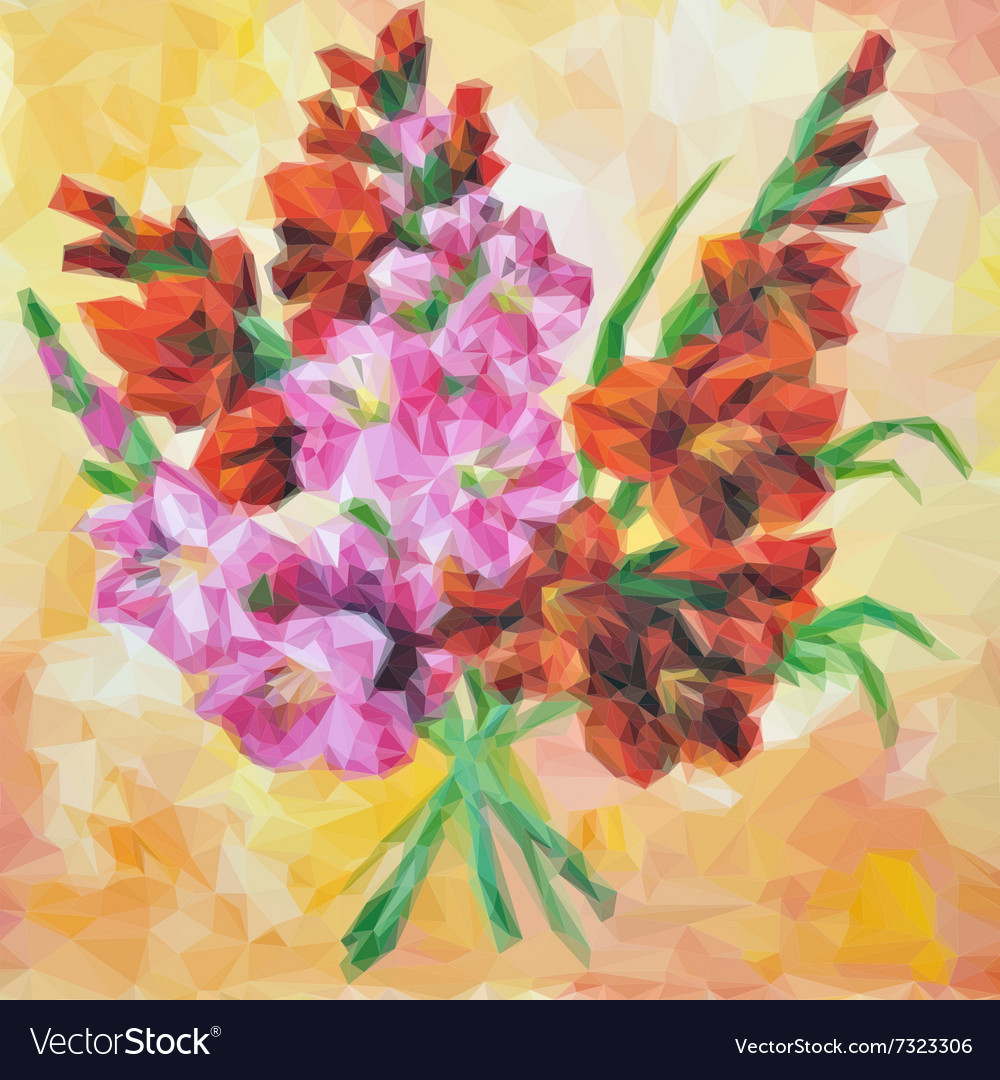 Gladiolus flowers painting vector