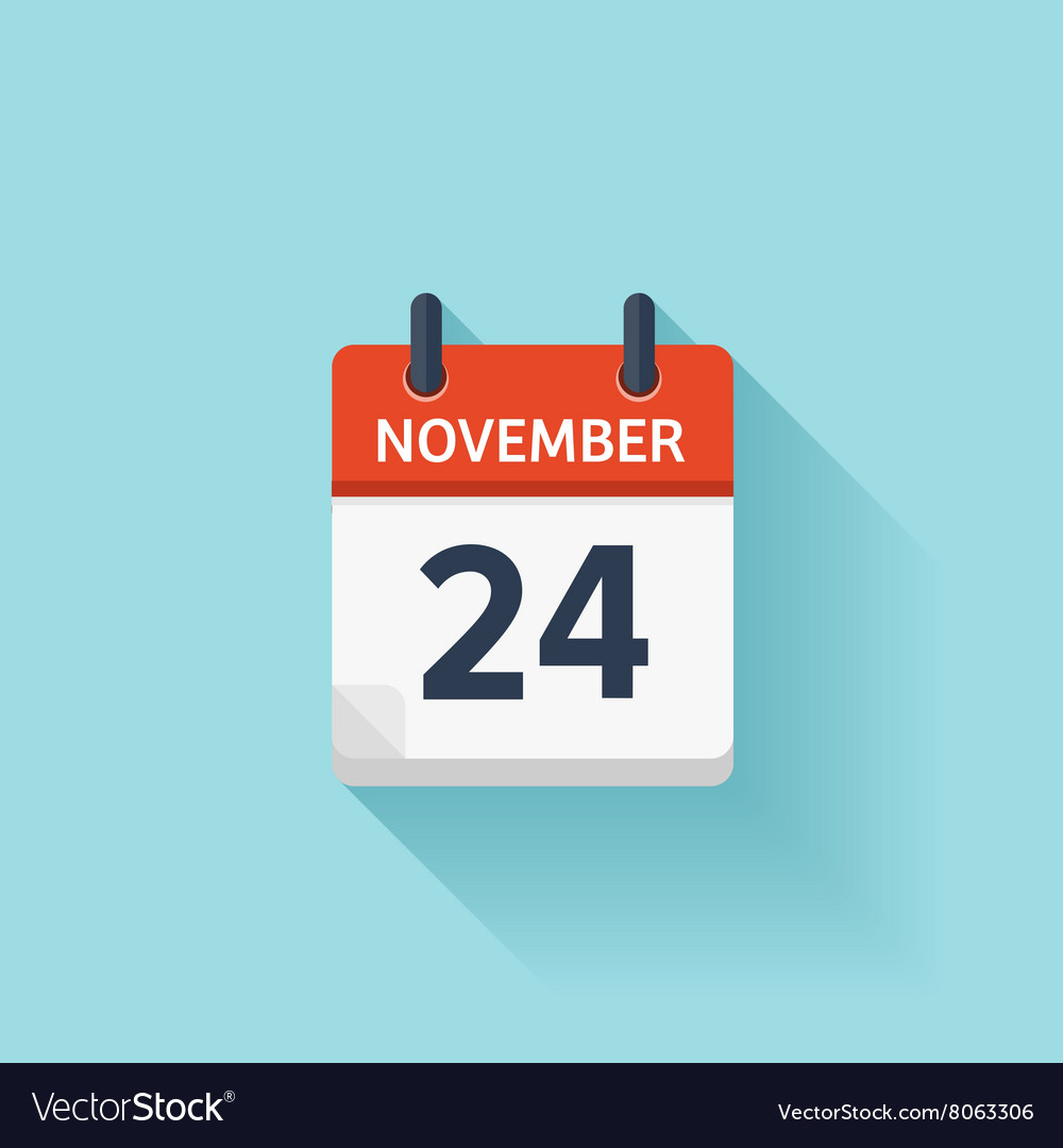 November 24 flat daily calendar icon vector