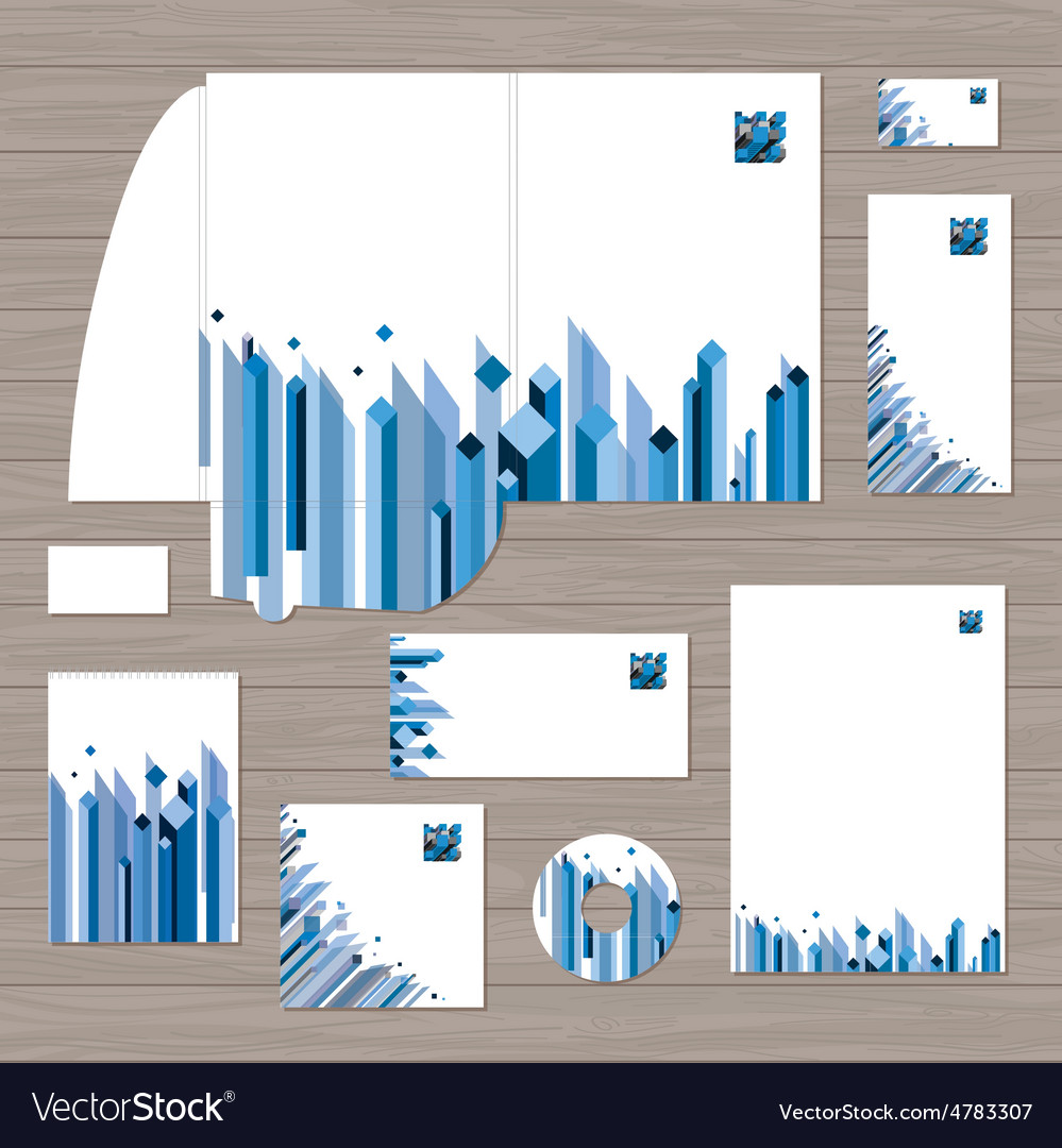 Cube corporate identity template vector