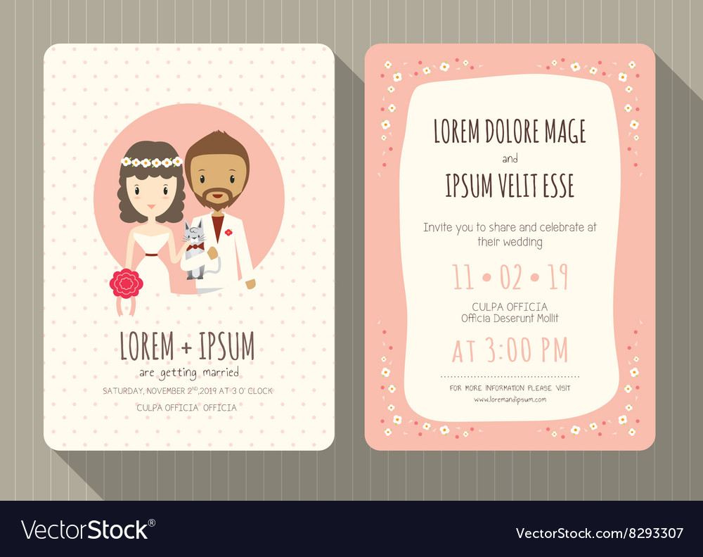Groom and bride cartoon wedding invitation card vector