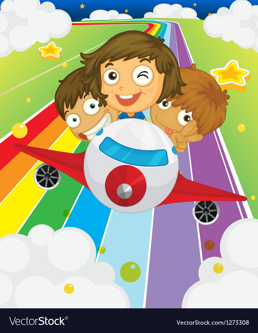 A plane with three playful kids vector