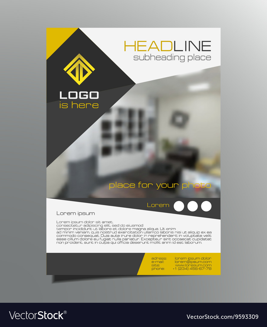Grey yellow brochure flyer design leaflet vector
