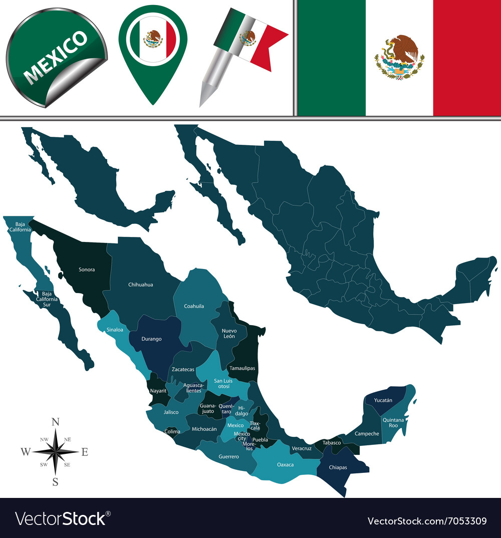 Mexico map with named divisions vector