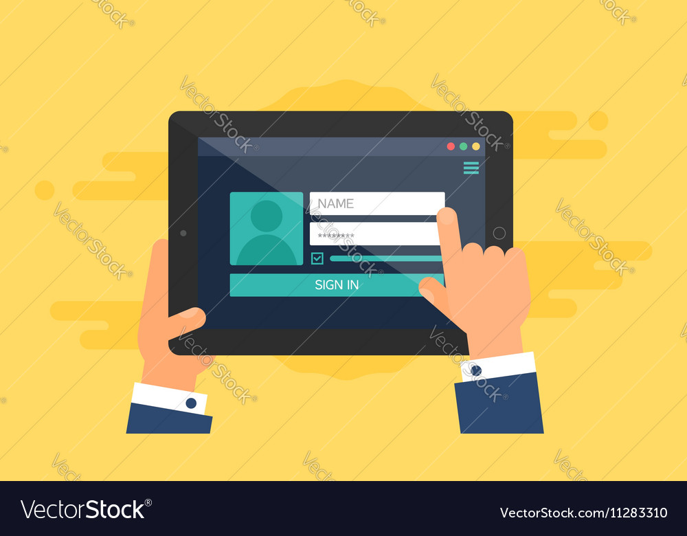 Web template of tablet login form vector