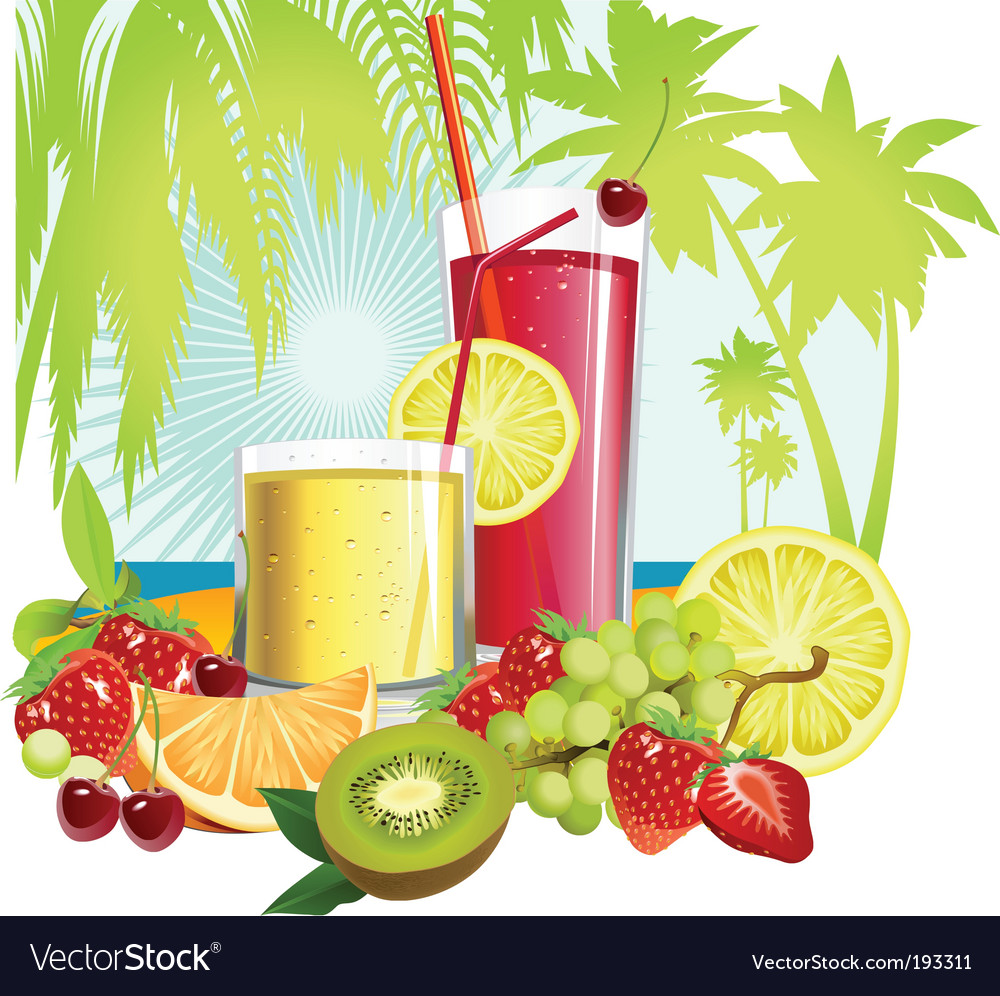 Juice and fruits vector