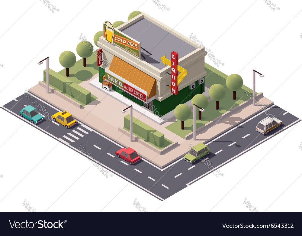 Isometric liquor store vector