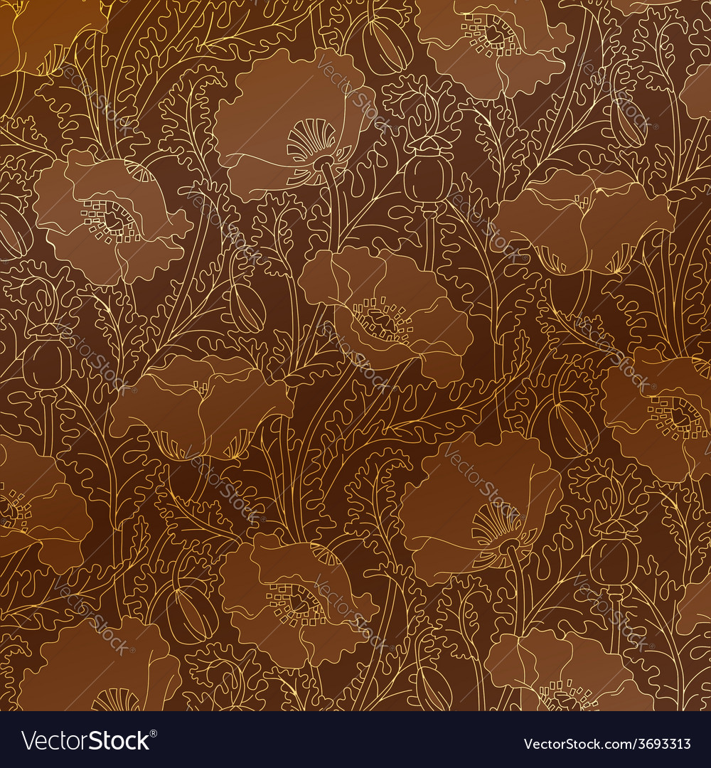 Retro pattern of gold poppies vector
