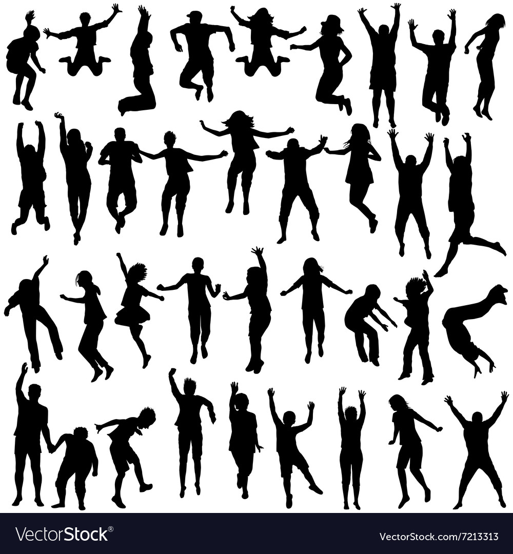 Silhouettes of children and young people jumping vector